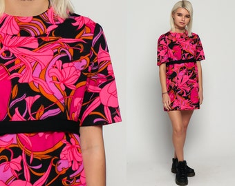 Floral Babydoll Dress 60s Mod Mini Psychedelic Empire Waist 70s Hot Pink Vintage Dolly Gogo Sixties Sleeveless Flower Print Petite Large