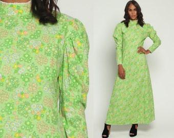 Boho Floral Dress 70s Maxi Hippie PUFF Sleeve Bohemian High Neck 1970s Festival Flower Power Vintage Pastel Green Summer Long Large