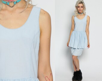 Sun Dress PEPLUM Wiggle Mini Pencil Cotton Sundress 80s Button Back Boho Pastel Grunge Light Blue Low Vintage High Waist Bohemian Small