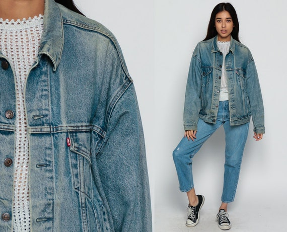 Vintage Blue Denim Unisex Jacket Blue Jean Jacket XL