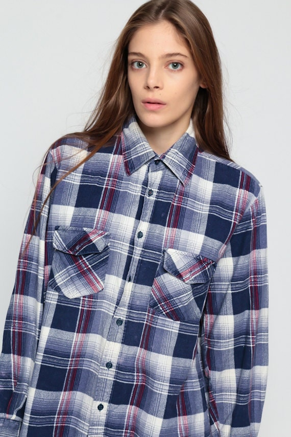 Flannel shirt 90s blue plaid grunge lumberjack navy oversize for Navy blue and red flannel shirt