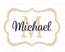 ON SALE Personalized Baby Name Wall Decal - Modern Rectangle Frame with Initial and Name Monogram Vinyl Lettering 22H x 32W Fn0238