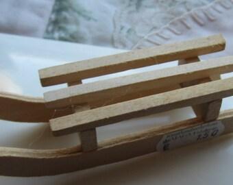 Unpainted Miniature Sled for Dollhouse Decor #110
