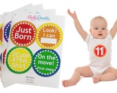 Belly Doodles® 16 baby month stickers #M7 Rainbow gender neutral boy or girl Just Born milestone age red orange yellow blue green purple
