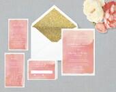 The 'Jeanie' Wedding Invitation; Watercolour Invitation, Modern Invitation, Vintage Wedding, Romantic Invitation, Watercolor, Printable