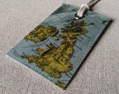 United Kingdom & Ireland original vintage map luggage tag