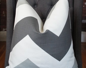 Gray Zigzag Pillow, Schumacher Big Zigzag, Designer Pillow, Decorative Pillow, Geometric Pillow, Throw Pillow, Home Decor, Home Furnishing