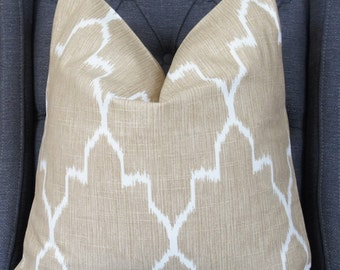 Taupe Ikat Pillow, Taupe Geometric Pillow Cover, Decorative Pillow, Throw Pillow, Toss Pillow, Sofa Pillow, Home Decor, Home Furnishing