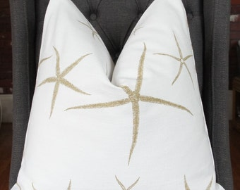 Taupe Starfish Pillow, Decorative Pillow, Throw Pillow, 18x18 inch, Home Furnishing, Home Decor, Made in USA