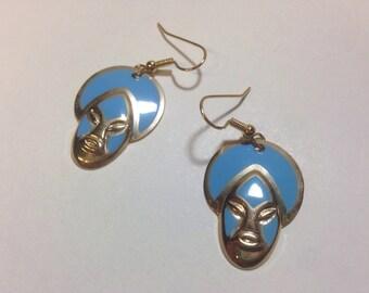 Vintage African mask earrings