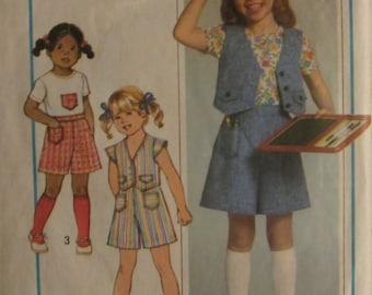 Simplicity 8042/Vintage Sewing Pattern/Girls Pantskirt, Top and Vest/Size 4 & 5/1977
