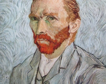 Vincent Van Gogh, Portrait of the Artist, 1890, 9 x 11 in. Reproduction Impressionist Print,Color Plate, 1970 Book Print