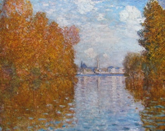 Claude Monet- Autumn at Argenteuil, 1873, 9 x 7 in. Reproduction Impressionist Print,Color Plate, 1970 Book Print