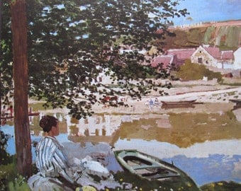 Claude Monet- The River, 1868, 9 x 7.5 in. Reproduction Impressionist Print,Color Plate, 1970 Book Print