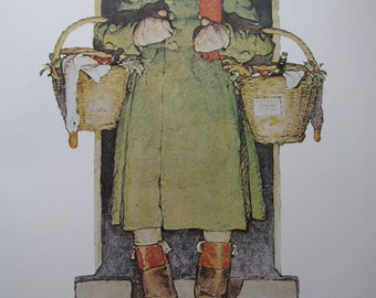 Merrie Christmas/Springtime, Norman Rockwell Magazine Cover Prints, 2-Sided Vintage Book Page, Unframed Color Plate, 1979
