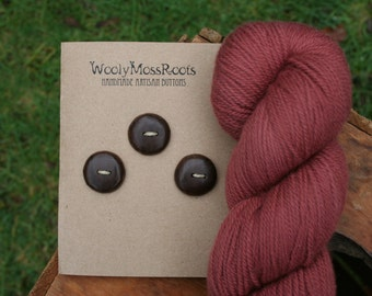 3 Black Walnut Wood Buttons- Handmade Wooden Buttons- Eco Knitting Supplies, Eco Craft Supplies