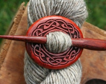 Red Celtic Knot Shawl Pin - Handmade Wooden Shawl Pin in Reclaimed Wood - Eco Knitting Supplies