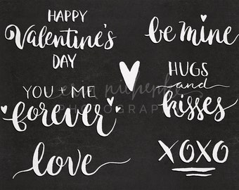 Valentine's Day Overlays, hand lettered, brush script, white transparent, Photoshop and PNG Files - WITH INSTRUCTIONS!