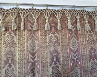 1910 Antique Edwardian Large Woven Moroccan Inspired Tapestry Panel With Tassels Curtain Table Cover Wall Hanging