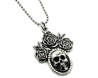 SALE 50% OFF Gothic Necklace - Day of the Dead Pendant with Skull Cameo and Roses on Silver Ball Chain - by Ghostlove