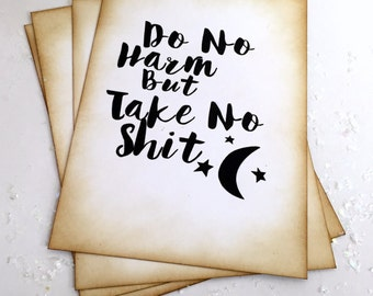 Do No Harm But Take No Shit Notecards/ Pagan Note Cards/ Magic Wiccan Rede with Humor Stationery/ SET of 5 Flat Cards with Envelopes