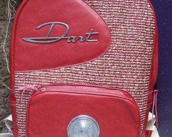 Red Leather Backpack Featuring the 1963 Dodge Dart