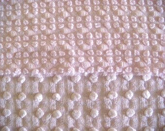 Morgan Jones Sweet Pink Reversible Pops Vintage Chenille Fabric 12 x 24 Inches