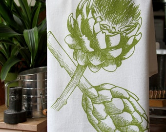 Artichoke Flour Sack Towel - Hand Screen Printed