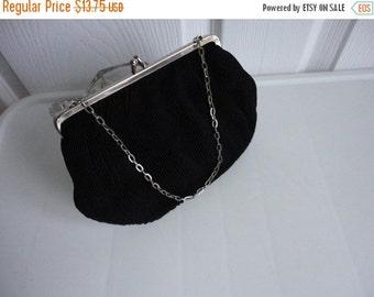 sale Vintage Gorgeous Black Faille Clutch Evening Purse