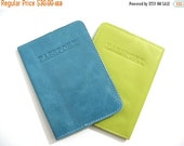 CLEARANCE 50% OFF LEATHER Passport Cover, Leather Passport holder, Leather Passport Wallet, Leather Passport Case, Gift ideas - in Teal, Aqu