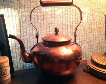 Antique Copper Teapot with Bamboo Handle