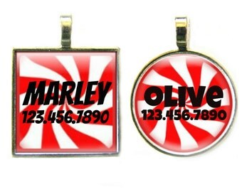 Red Peppermint  Silver Custom Personalized Dog ID Pet Tag Custom Pet Tag You Choose Tag Size & Colors