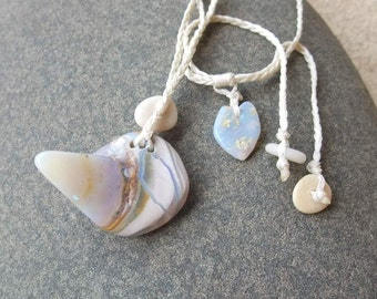 Opal necklace grey pale blue white - unique Australian jewelry - whimiscal natural stone necklace - one of a king ooak