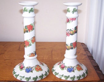 Portmeirion Pomona, Candlesticks Set of 2, Hoary Apple, Morning Apple, White Dutch Currant, Made in England, Anglophile, Fruit Pattern