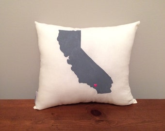 California Pillow with Customizable Heart