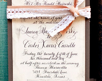 "Wedding Invitation Vintage Calligraphy Love No. 6, ""Longbourne"""