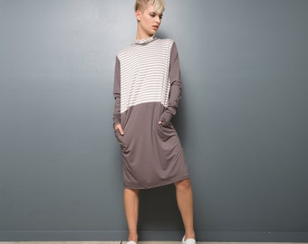 Half jersey half stripes fall dress