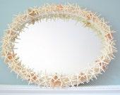 Starfish Mirror Nautical Beach Decor -  Star Fish Shell Mirror - White Starfish Seashell Mirror, Oval