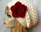 Valentines Red Womens Hat, Crochet Beret, Cream, Custom Color, Chunky, Warm, Flower, Teens, City Hat, Birthday Gifts for Her JE505BTF8
