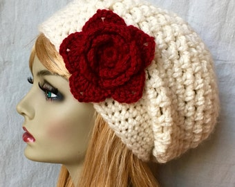 Red Womens Hat, Crochet Beret, Cream, Custom Color, Chunky, Warm, Flower, Teens, City Hat, Birthday Gifts for Her, Valentines JE505BTF8