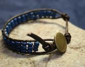 RUNNING RIVER : cuff bracelet beaded leather wrap boho organic style