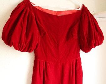 ON SALE 50% OFF Vintage 1960s Red Velvet Pouf Sleeve Dress