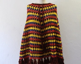 ON SALE 50% OFF Colorful bohemian shawl vintage cape style sweater knit striped shawl