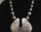 Vintage Chunky Asian Silver Tone Huge Pendant Necklace