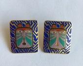Vintage Laurel Burch Toshio Enamel Tiger Cat Earrings