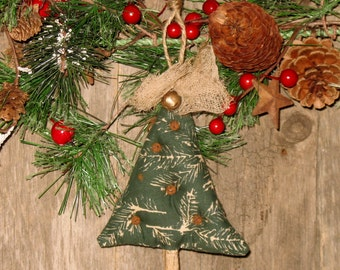 Primitive Christmas Tree Ornament, Rusty Bells, Hanger, Knob Hanger