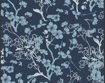 Cotton Voile Fabric, Art Gallery Premium Voile Fabric Branch Silhouette in Blue