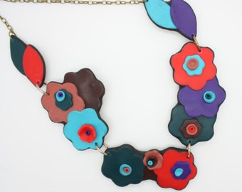 handmade polymer clay necklace, flowers and leaves
