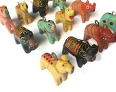 12 Small Wooden Horse Rhinoceros Animal Charms 28mm x 25mm