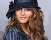 Sophia, Kentucky Derby hat, beautiful parasisal straw hat, womens summer millinery hat, color navy